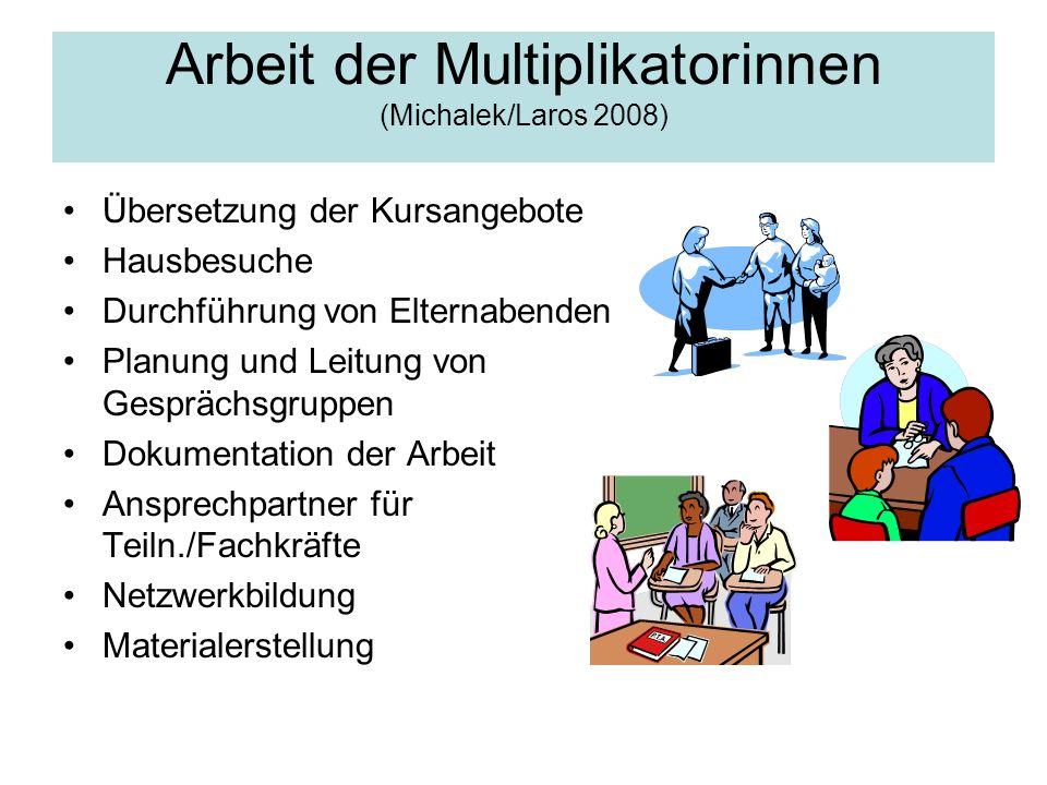Arbeit der Multiplikatorinnen (Michalek/Laros 2008)