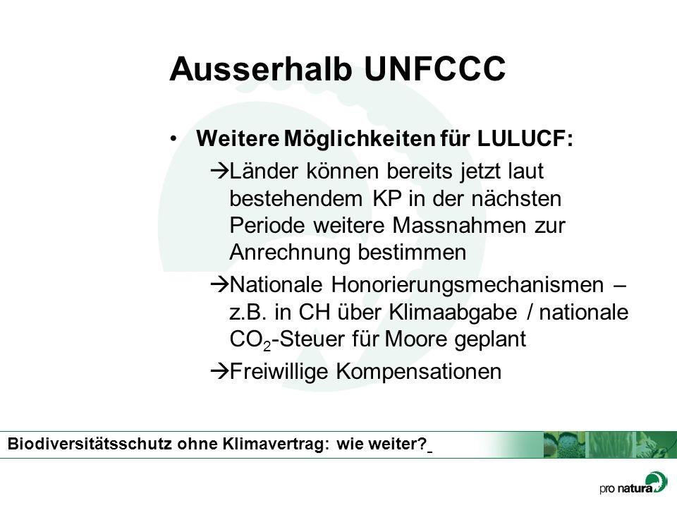 Ausserhalb UNFCCC Weitere Möglichkeiten für LULUCF: