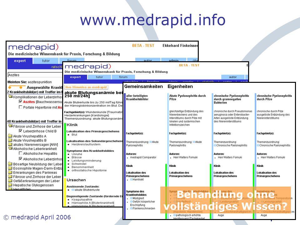 www.medrapid.info Behandlung ohne vollständiges Wissen