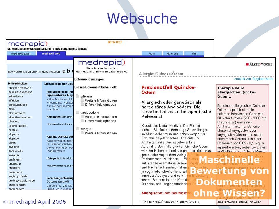 Websuche Maschinelle Bewertung von Dokumenten ohne Wissen