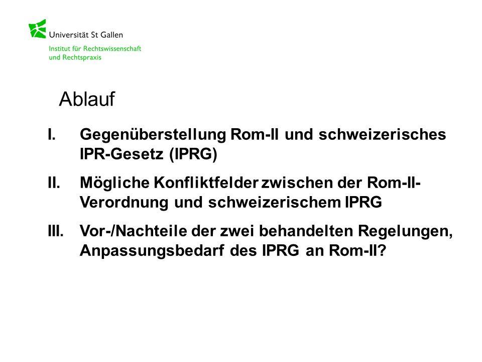 Ablauf I. Gegenüberstellung Rom-II und schweizerisches IPR-Gesetz (IPRG)
