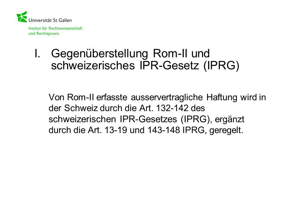 I. Gegenüberstellung Rom-II und schweizerisches IPR-Gesetz (IPRG)