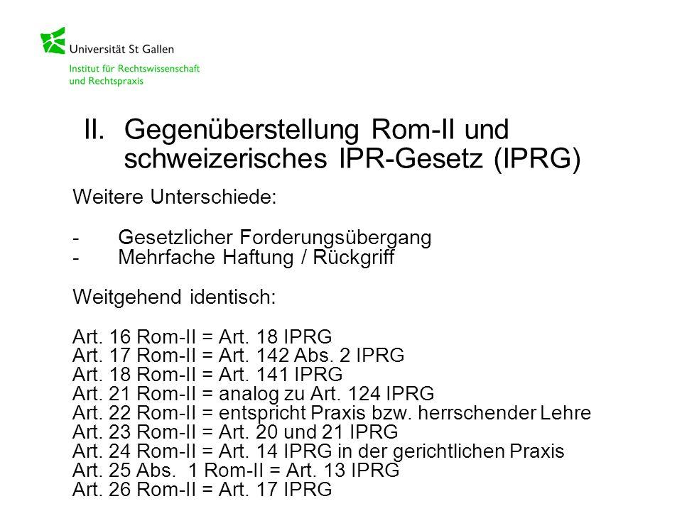 II. Gegenüberstellung Rom-II und schweizerisches IPR-Gesetz (IPRG)