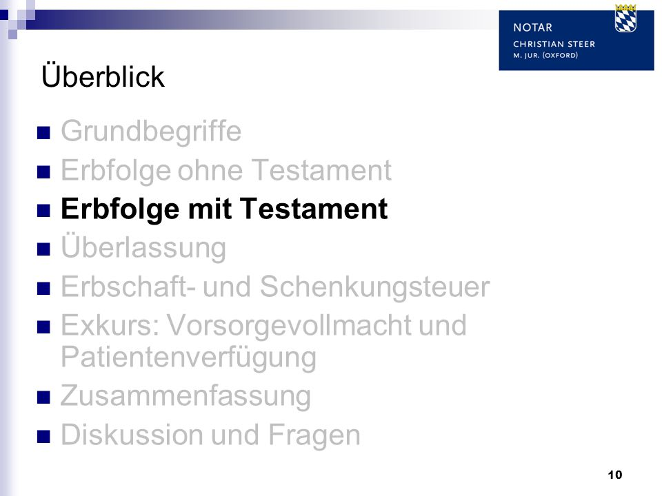 Überblick Grundbegriffe. Erbfolge ohne Testament. Erbfolge mit Testament. Überlassung. Erbschaft- und Schenkungsteuer.
