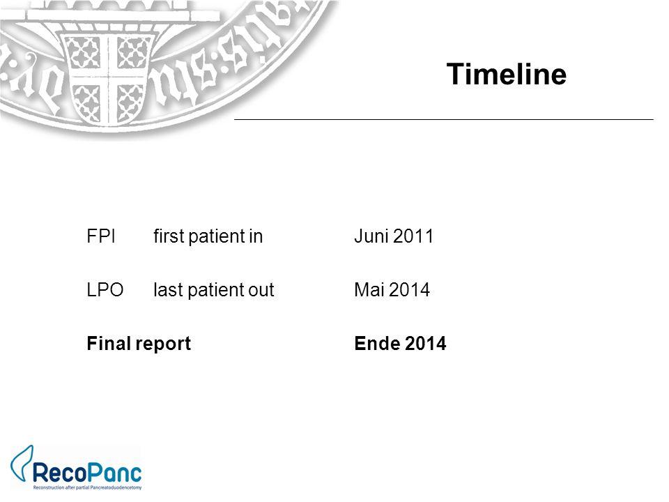 Timeline FPI first patient in Juni 2011 LPO last patient out Mai 2014