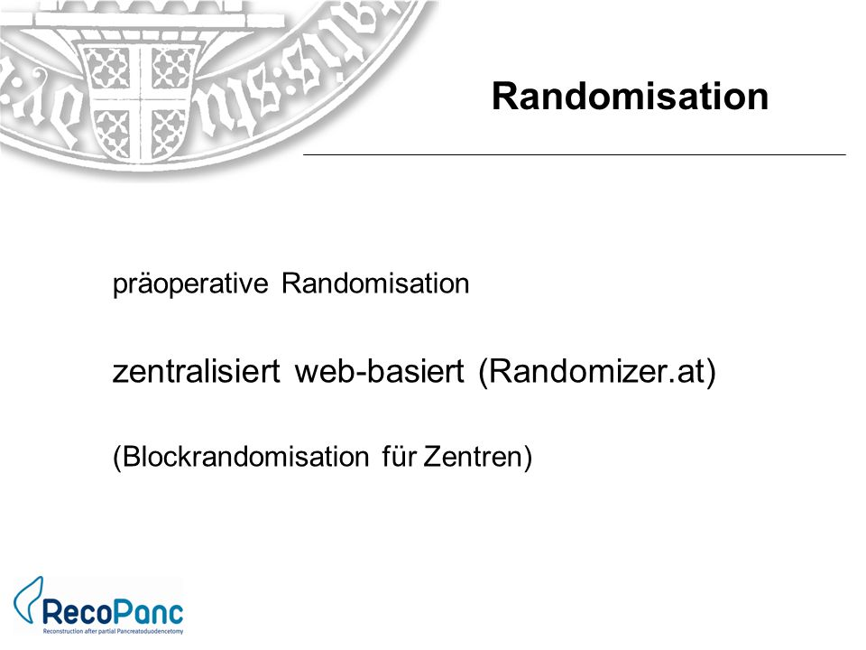 Randomisation zentralisiert web-basiert (Randomizer.at)