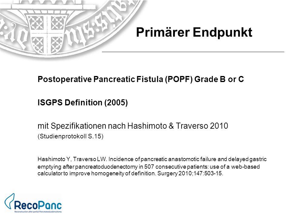 Primärer Endpunkt Postoperative Pancreatic Fistula (POPF) Grade B or C