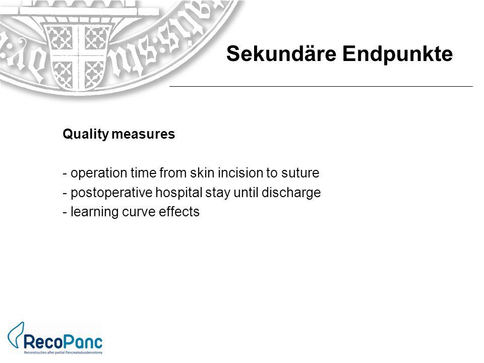 Sekundäre Endpunkte Quality measures