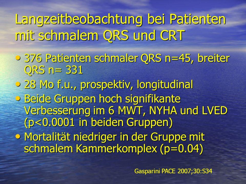 Langzeitbeobachtung bei Patienten mit schmalem QRS und CRT