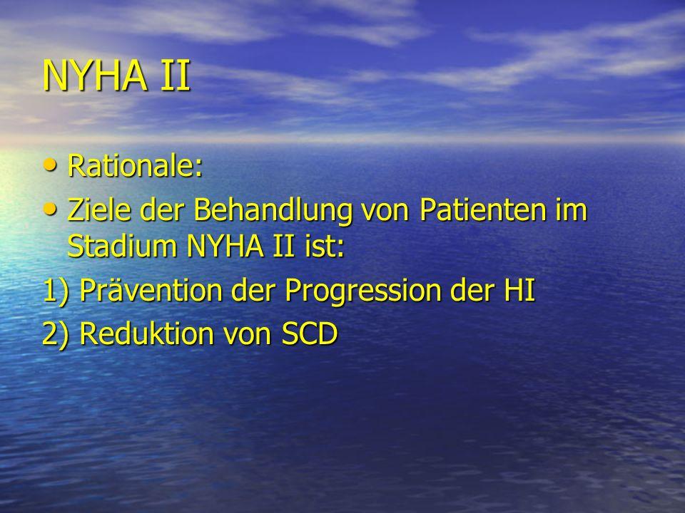 NYHA II Rationale: Ziele der Behandlung von Patienten im Stadium NYHA II ist: 1) Prävention der Progression der HI.