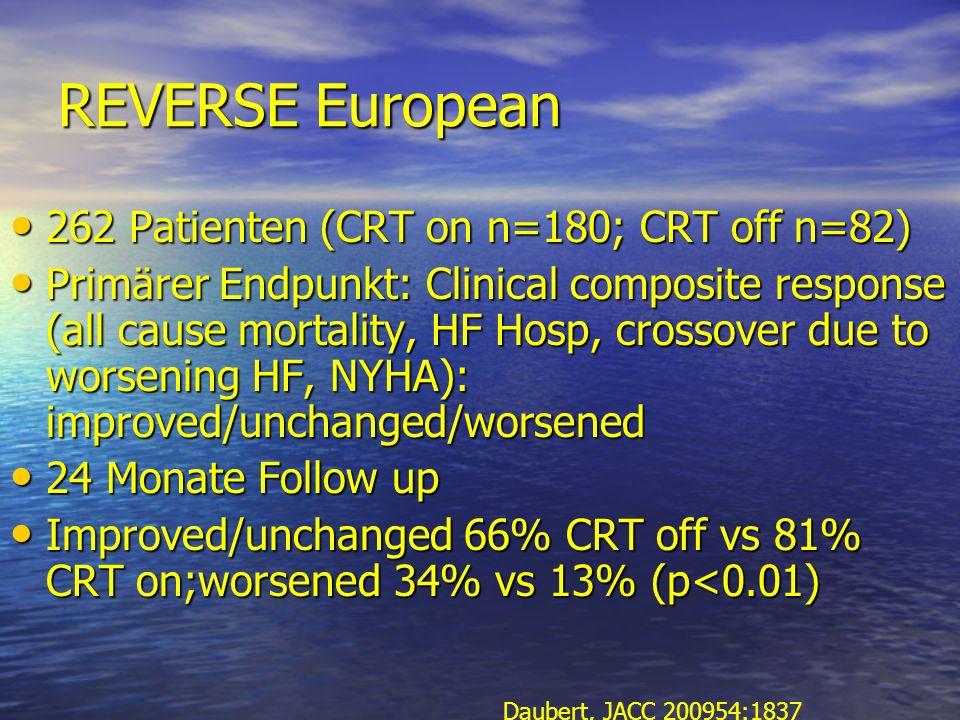 REVERSE European 262 Patienten (CRT on n=180; CRT off n=82)