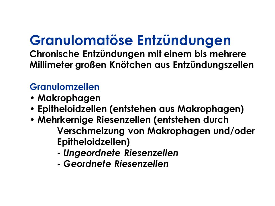 Granulomatöse Entzündungen