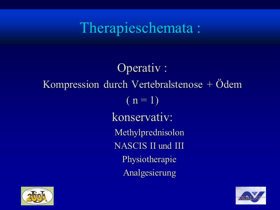 Kompression durch Vertebralstenose + Ödem