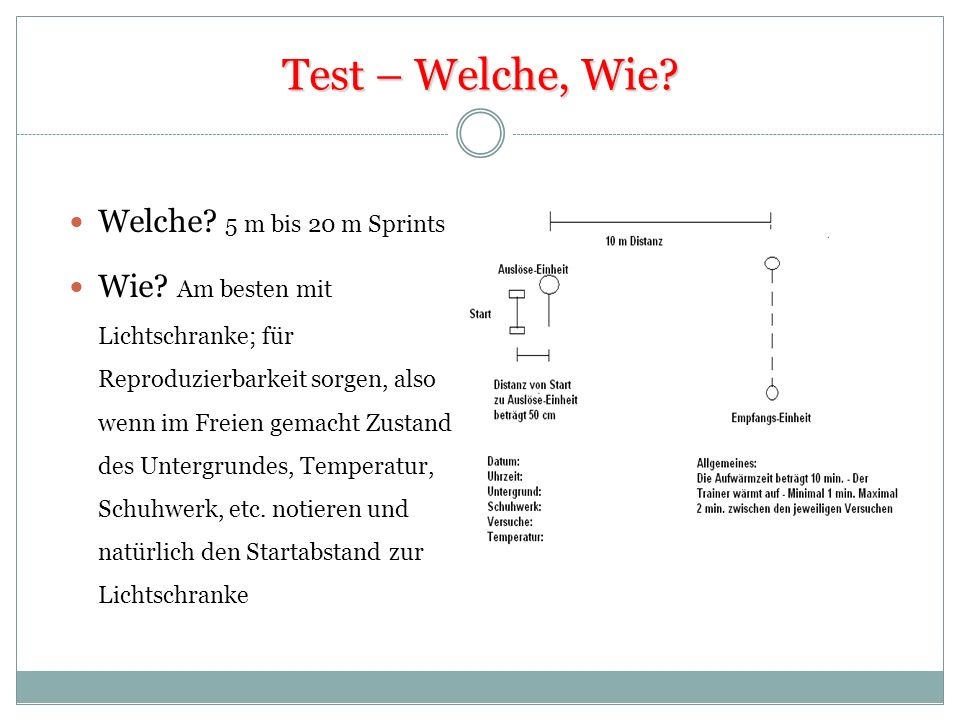 Test – Welche, Wie Welche 5 m bis 20 m Sprints