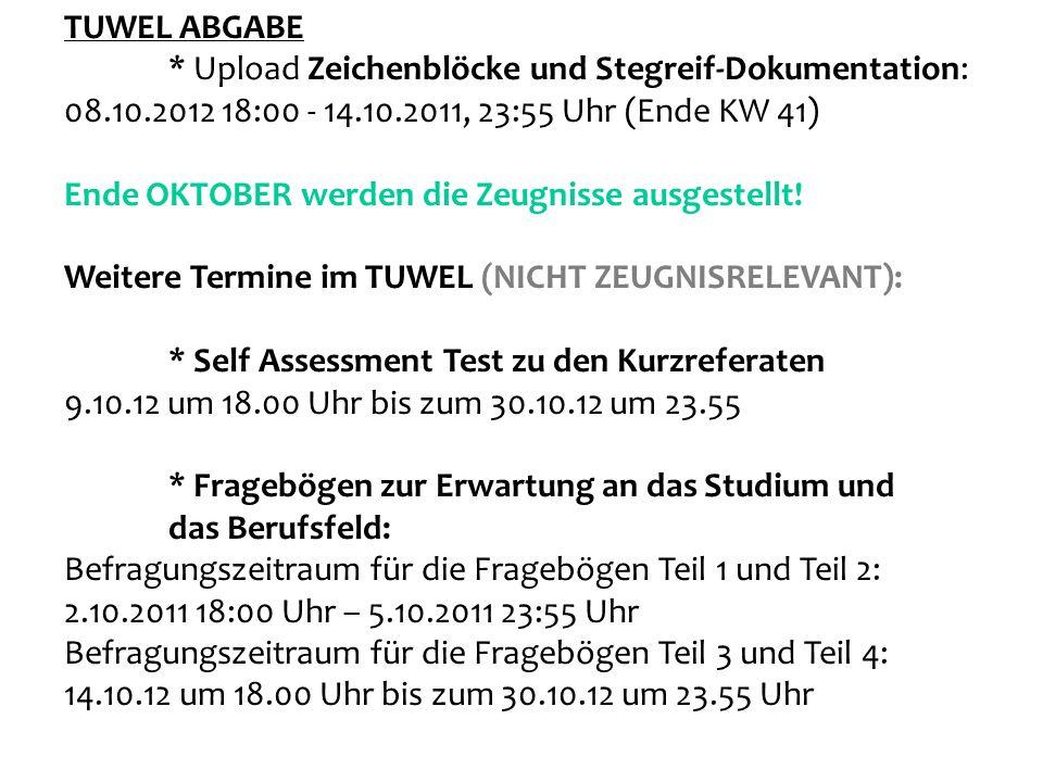TUWEL ABGABE * Upload Zeichenblöcke und Stegreif-Dokumentation: 08.10.2012 18:00 - 14.10.2011, 23:55 Uhr (Ende KW 41)