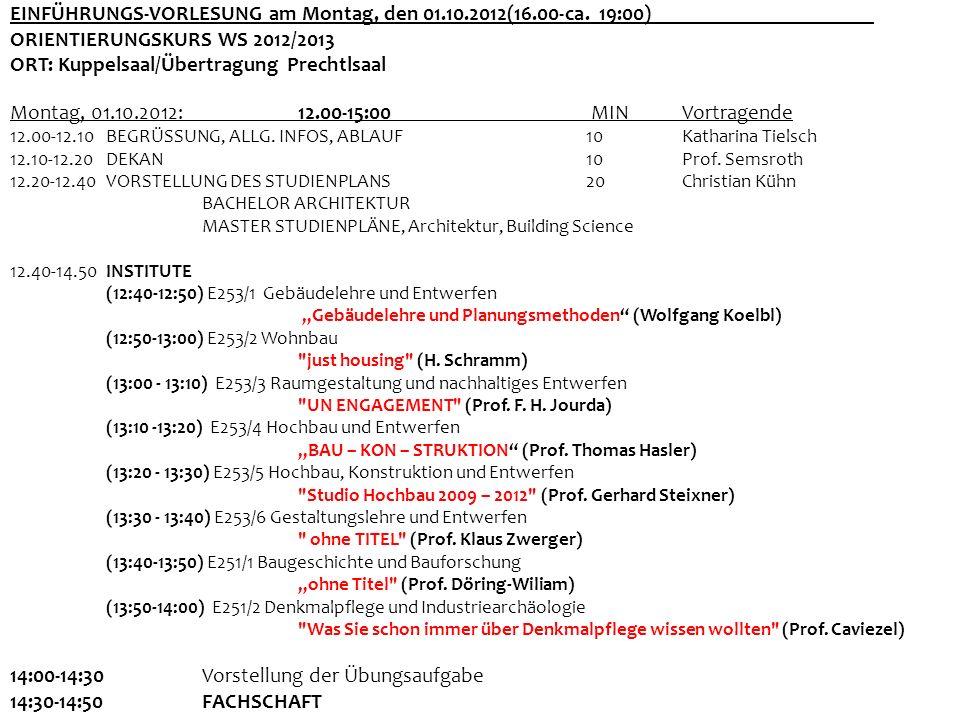 EINFÜHRUNGS-VORLESUNG am Montag, den 01.10.2012(16.00-ca. 19:00)