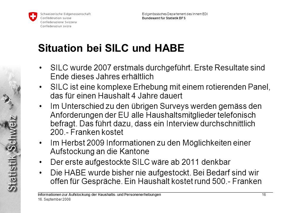 Situation bei SILC und HABE