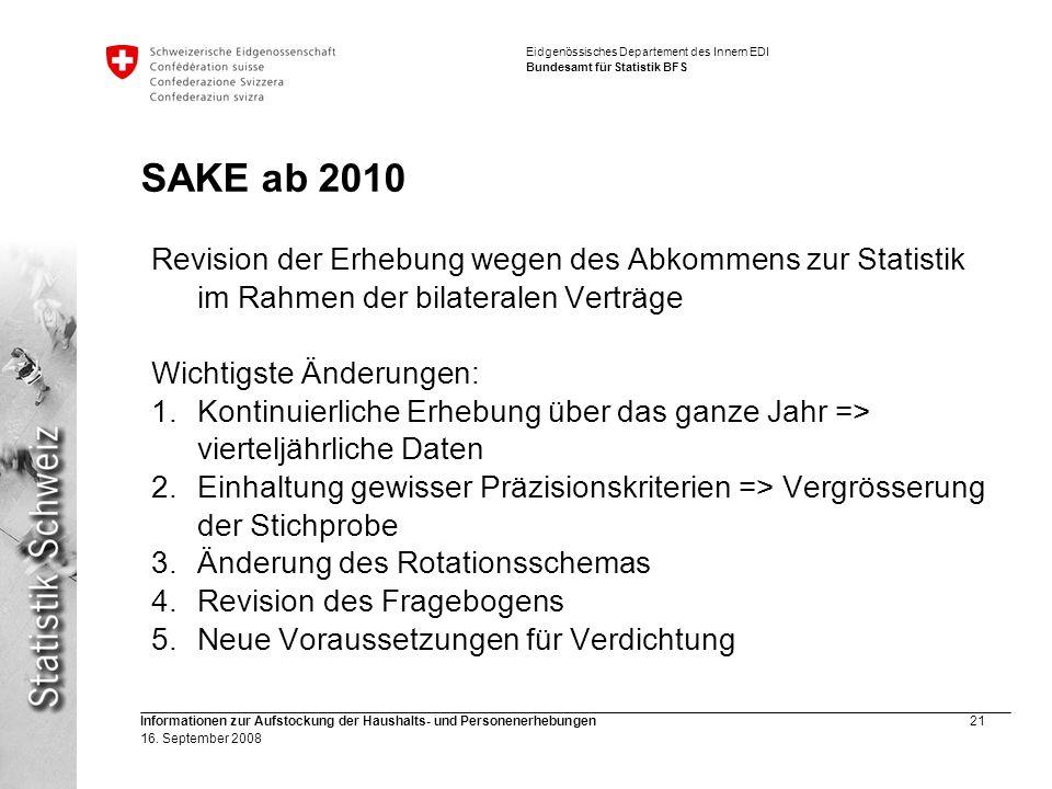 SAKE ab 2010 Revision der Erhebung wegen des Abkommens zur Statistik im Rahmen der bilateralen Verträge.