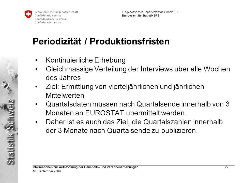 Periodizität / Produktionsfristen