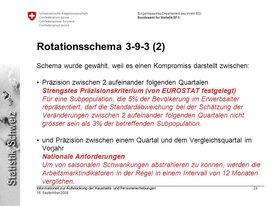 Rotationsschema 3-9-3 (2) Schema wurde gewählt, weil es einen Kompromiss darstellt zwischen: