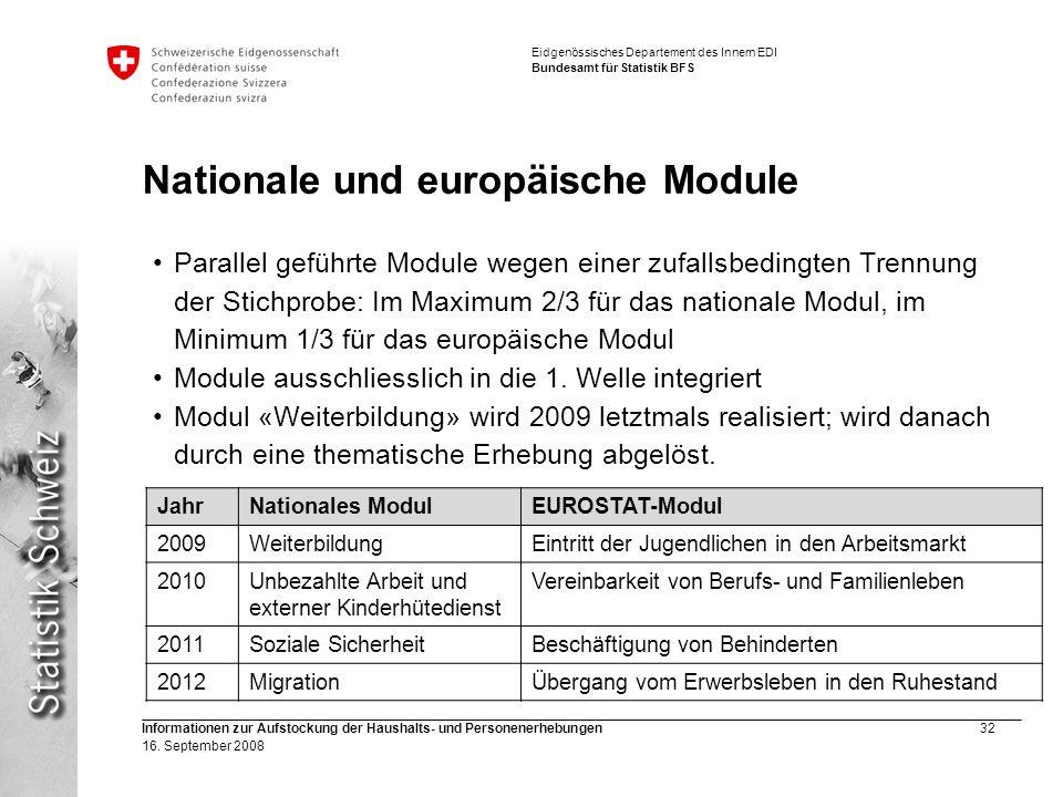 Nationale und europäische Module
