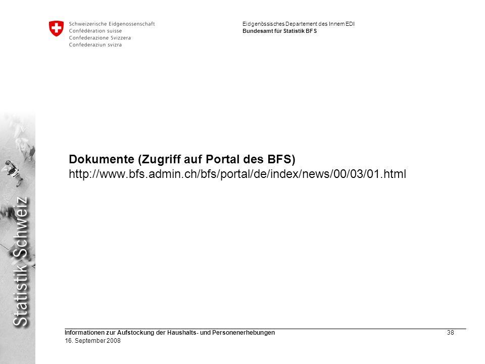 Dokumente (Zugriff auf Portal des BFS) http://www. bfs. admin