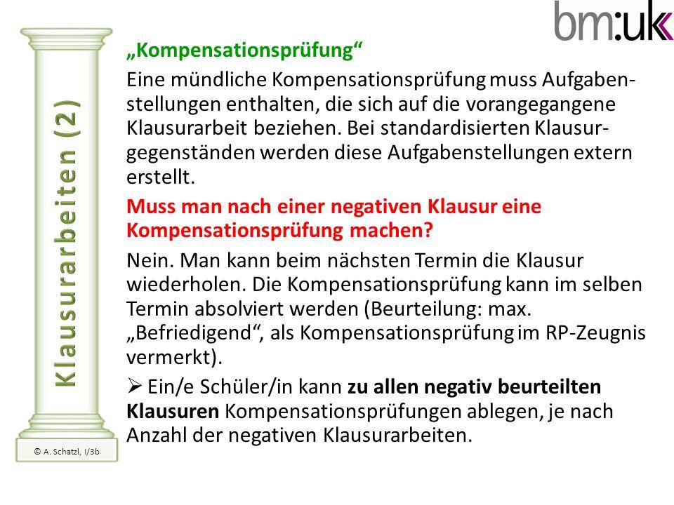 """Klausurarbeiten (2) """"Kompensationsprüfung"""
