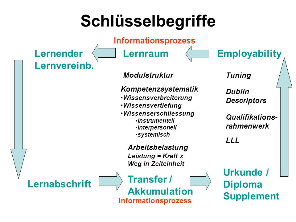Schlüsselbegriffe Lernender Lernvereinb. Lernraum Employability