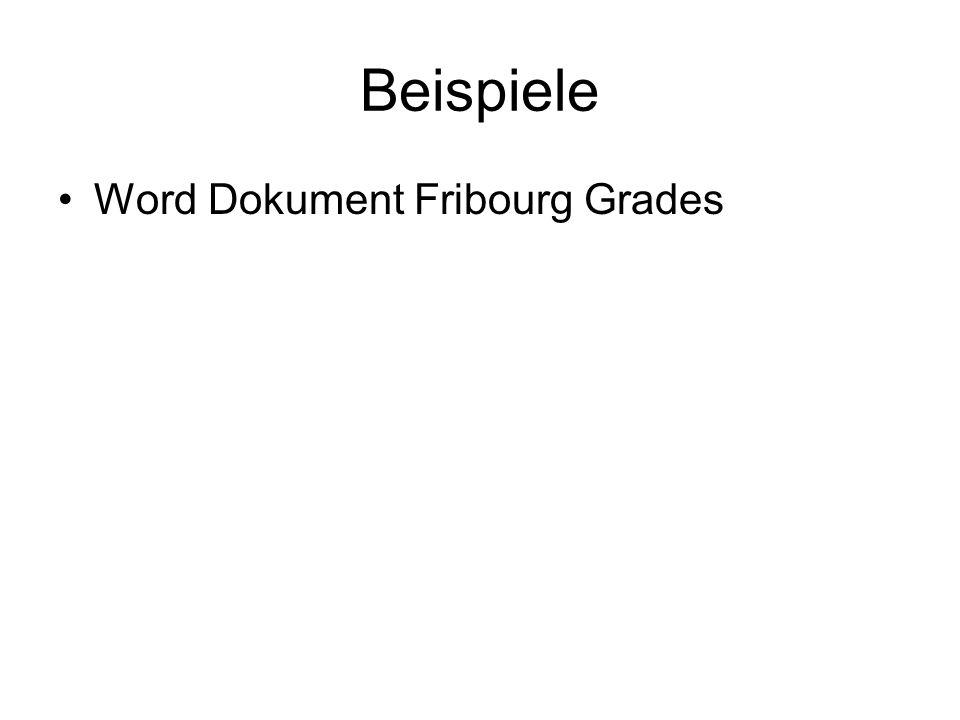 Beispiele Word Dokument Fribourg Grades