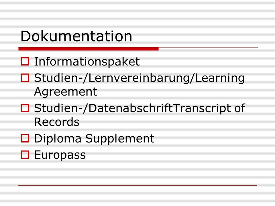 Dokumentation Informationspaket