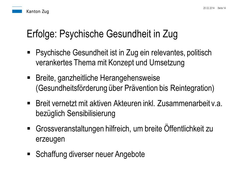 Erfolge: Psychische Gesundheit in Zug