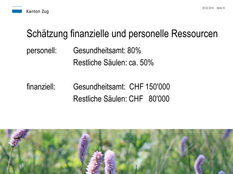 Schätzung finanzielle und personelle Ressourcen