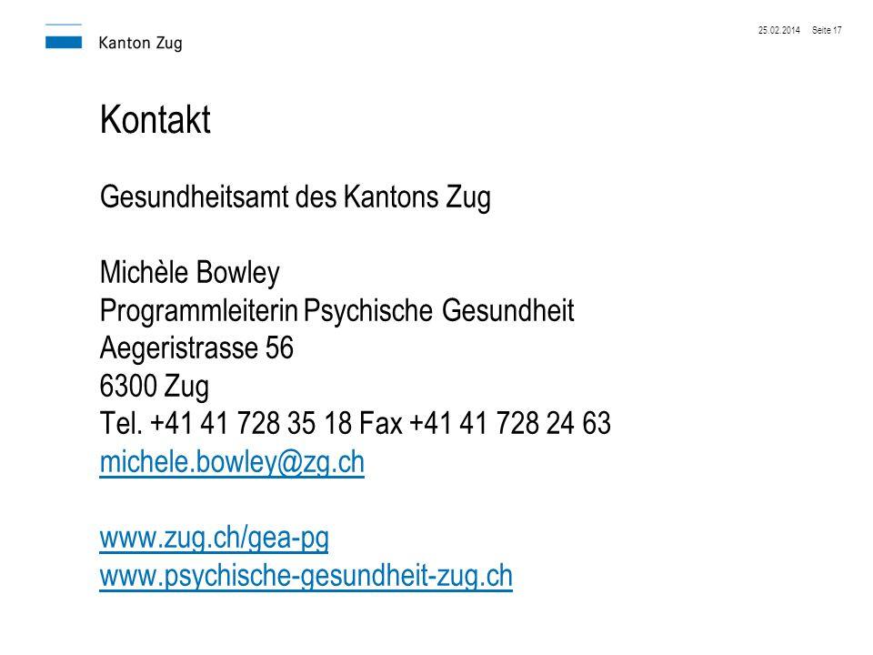 Kontakt Gesundheitsamt des Kantons Zug Michèle Bowley