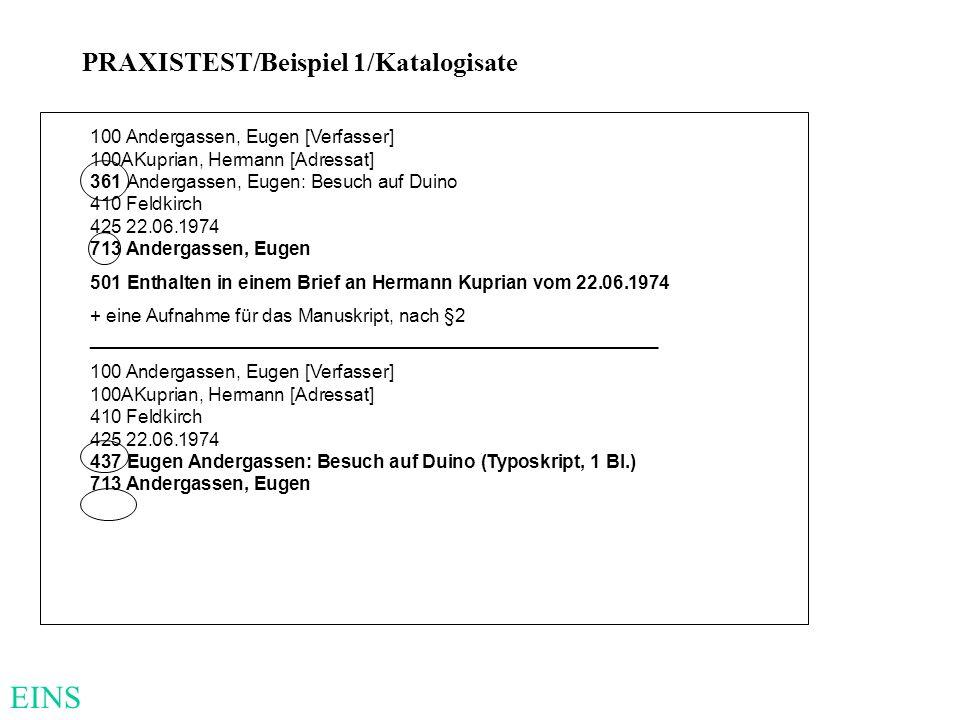 EINS PRAXISTEST/Beispiel 1/Katalogisate