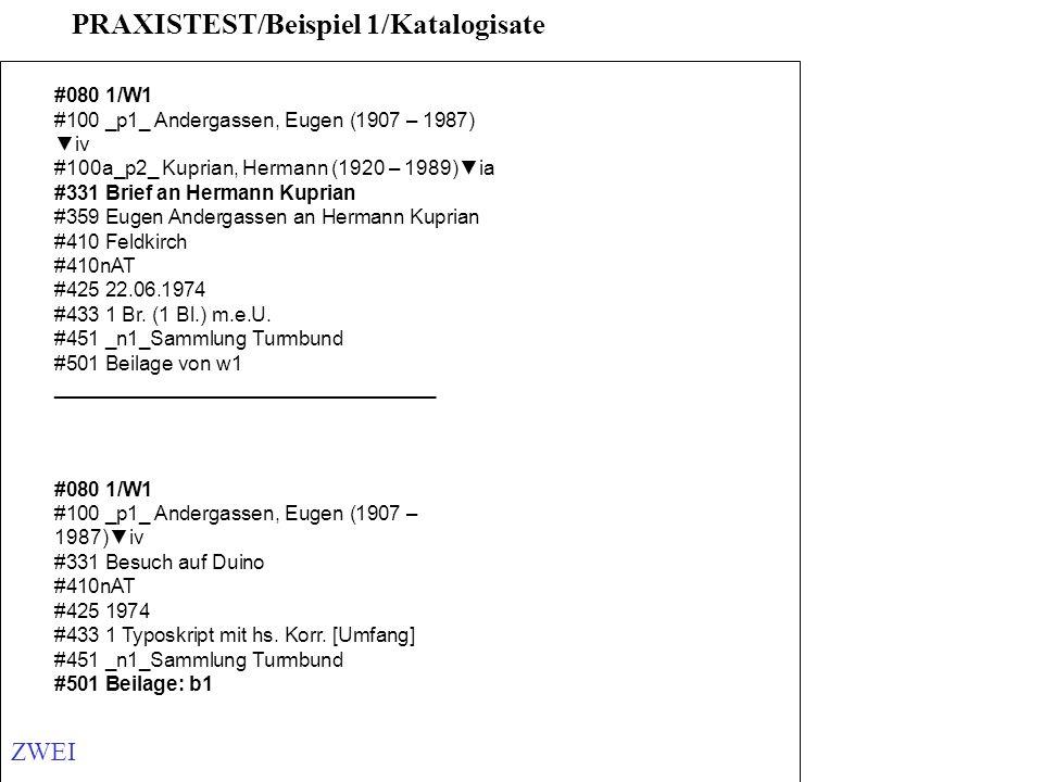 PRAXISTEST/Beispiel 1/Katalogisate