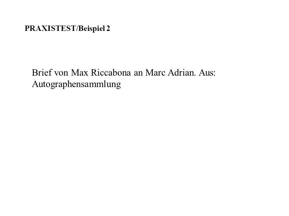 Brief von Max Riccabona an Marc Adrian. Aus: Autographensammlung