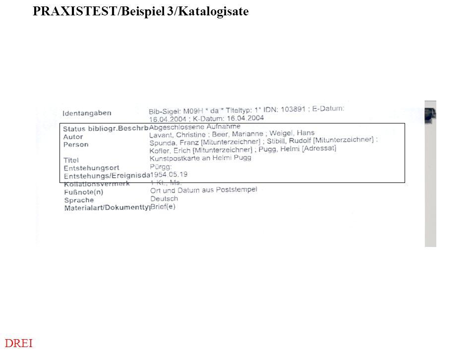 PRAXISTEST/Beispiel 3/Katalogisate