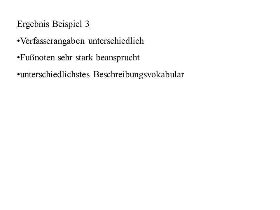 Ergebnis Beispiel 3 Verfasserangaben unterschiedlich.