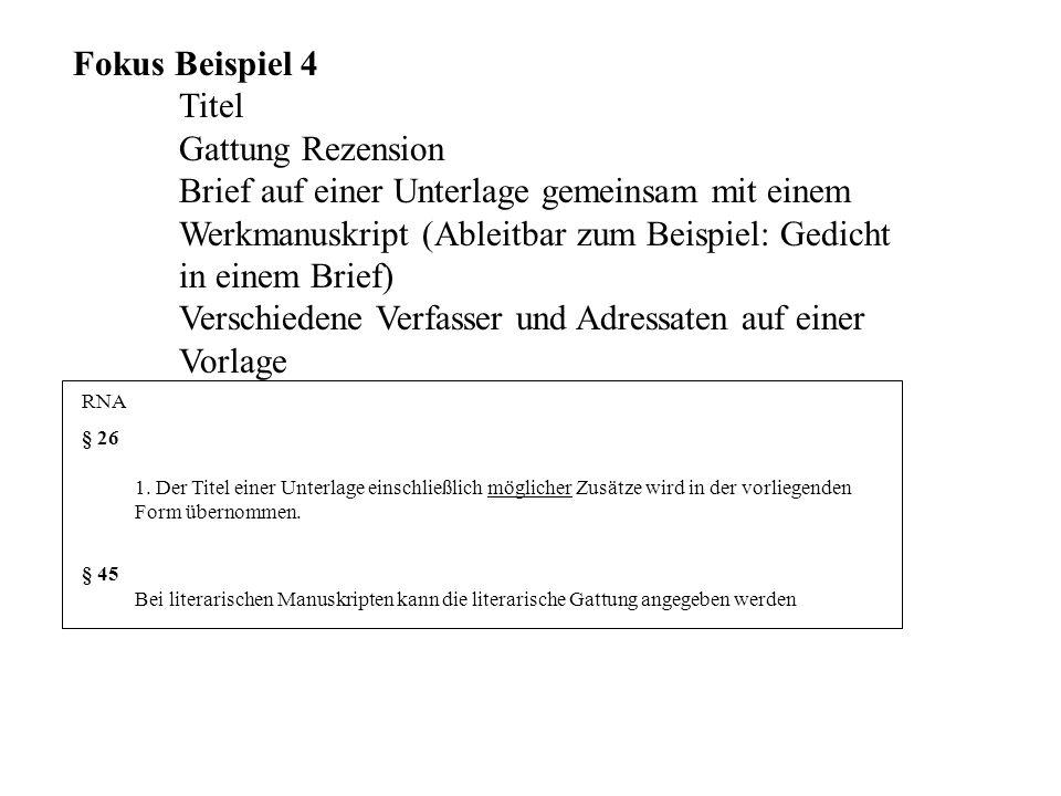 Fokus Beispiel 4. Titel. Gattung Rezension