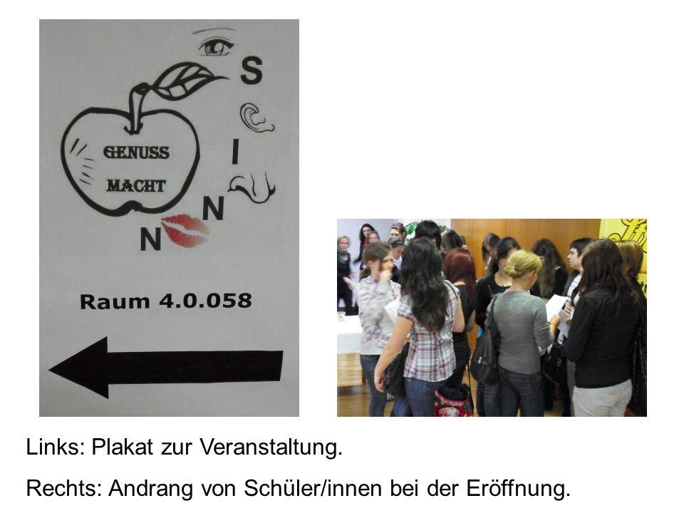Links: Plakat zur Veranstaltung.