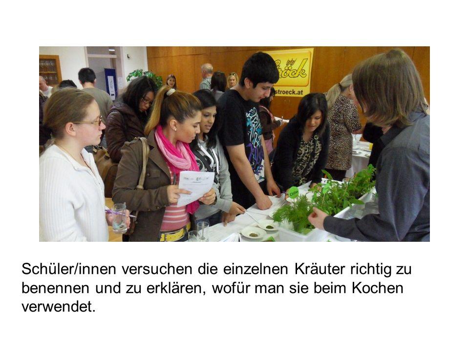 Schüler/innen versuchen die einzelnen Kräuter richtig zu benennen und zu erklären, wofür man sie beim Kochen verwendet.