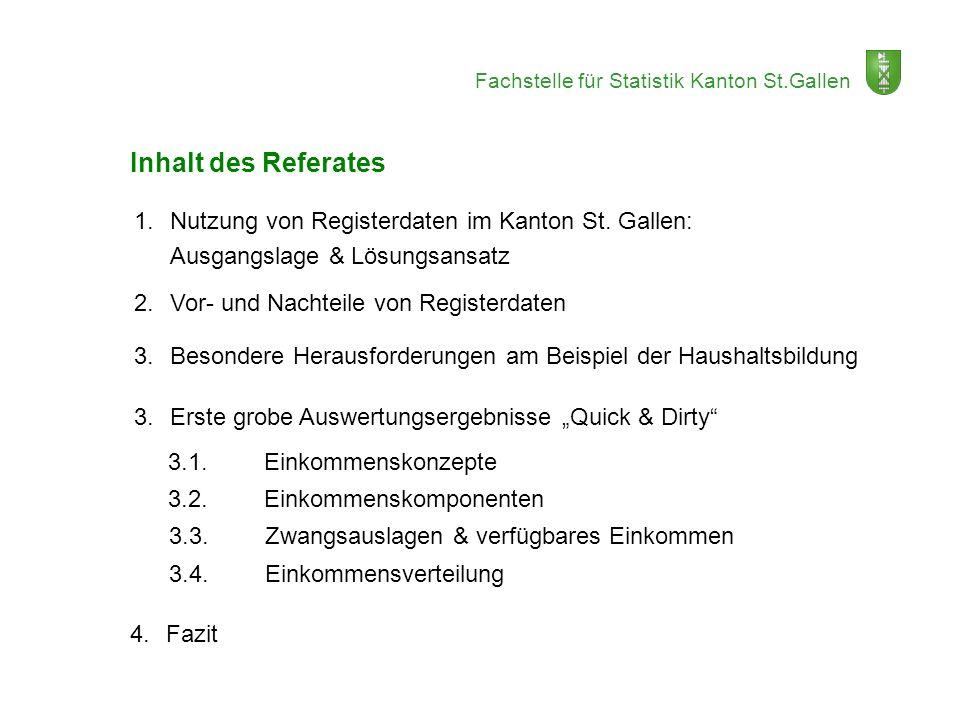 Inhalt des Referates 1. Nutzung von Registerdaten im Kanton St. Gallen: Ausgangslage & Lösungsansatz.