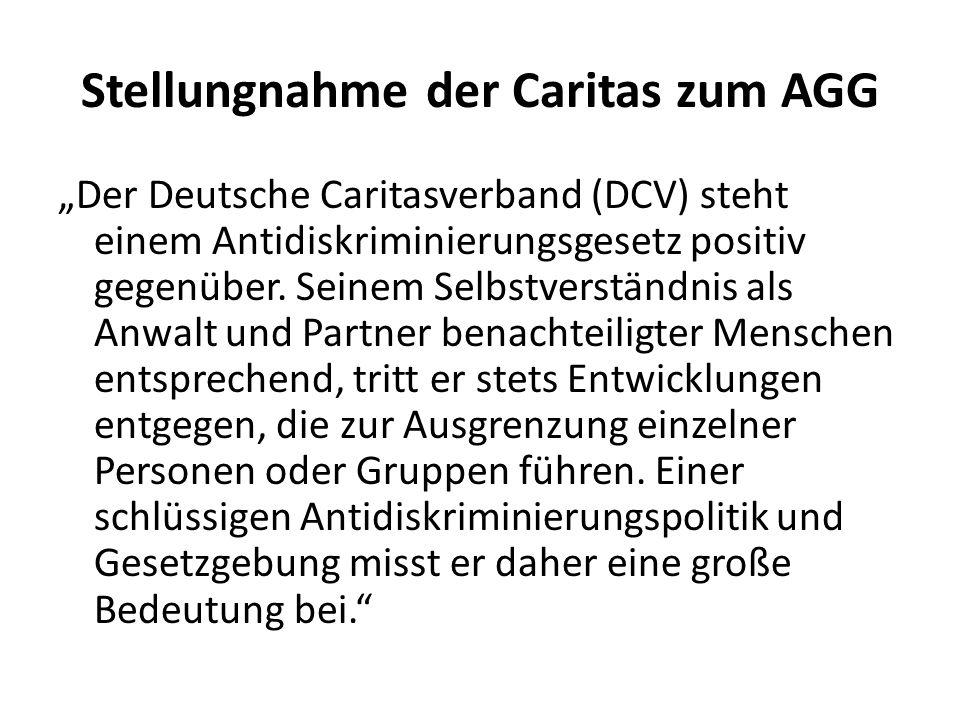 Stellungnahme der Caritas zum AGG