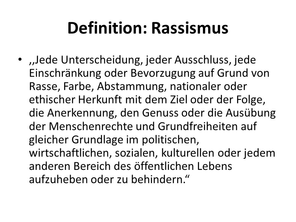 Definition: Rassismus