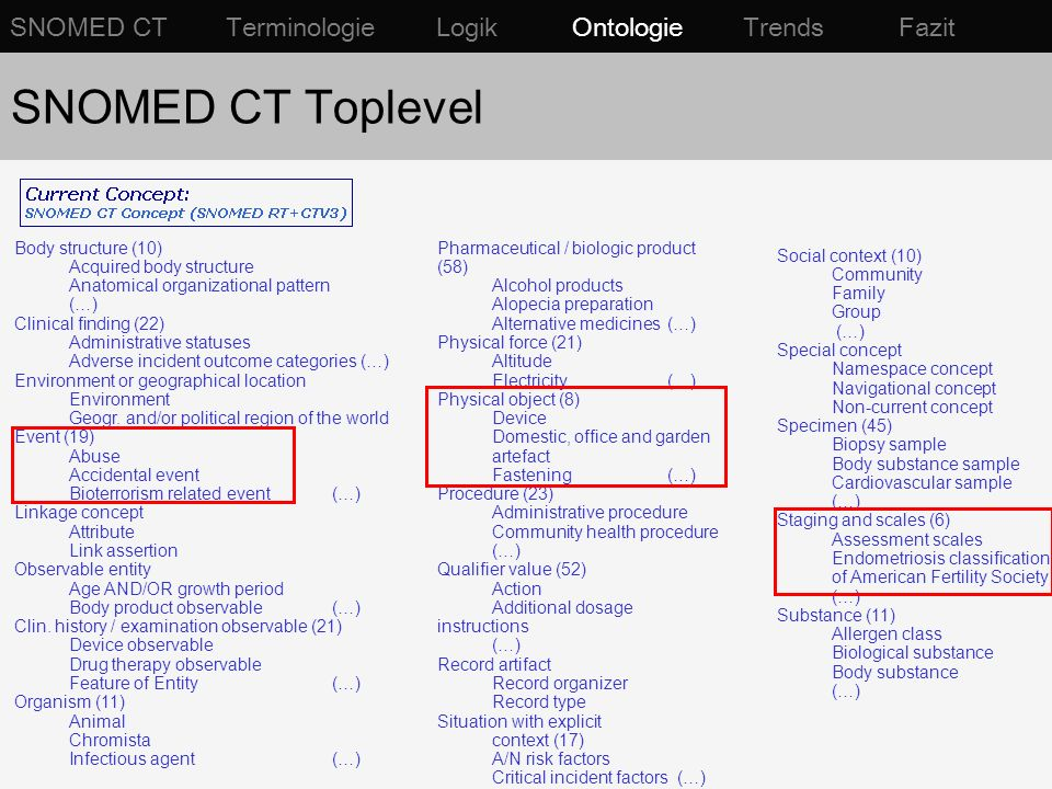 SNOMED CT Toplevel SNOMED CT Terminologie Logik Ontologie Trends Fazit