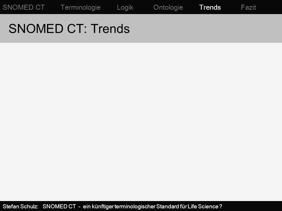 SNOMED CT: Trends SNOMED CT Terminologie Logik Ontologie Trends Fazit