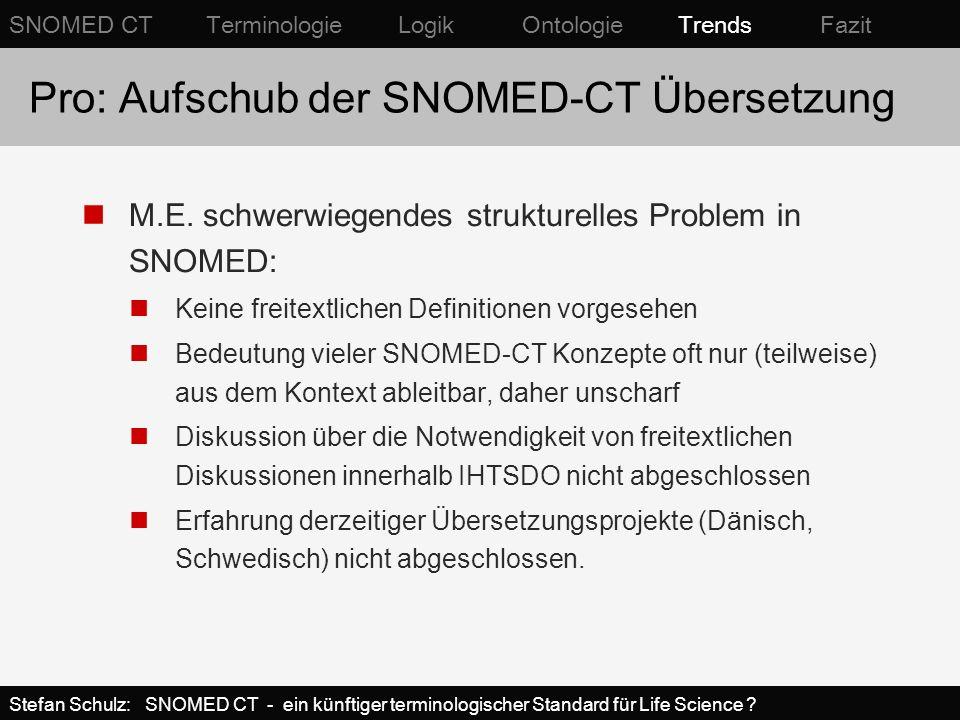 Pro: Aufschub der SNOMED-CT Übersetzung