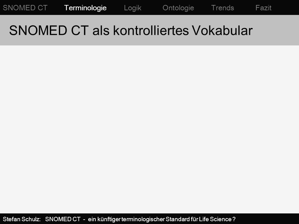 SNOMED CT als kontrolliertes Vokabular