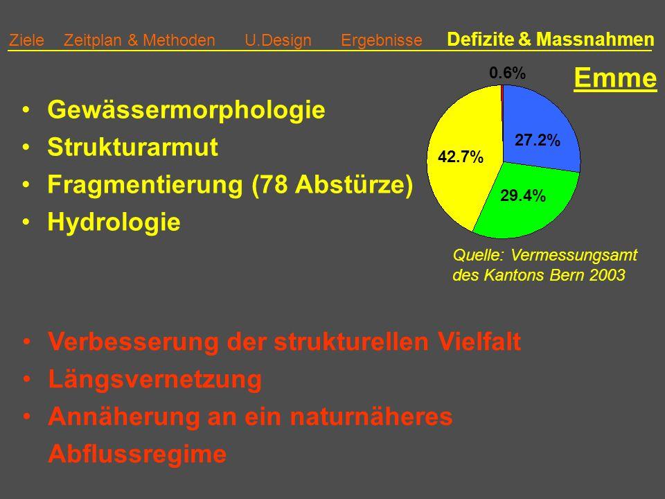 Emme Gewässermorphologie Strukturarmut Fragmentierung (78 Abstürze)