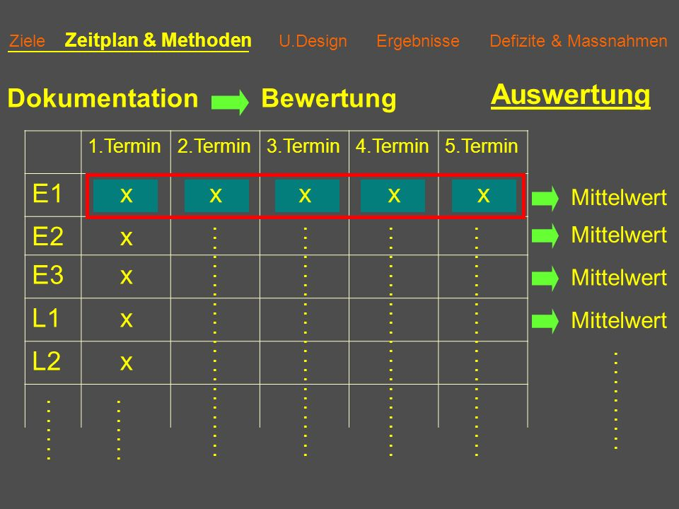 Auswertung Dokumentation Bewertung E1 x E2 E3 L1 L2 Mittelwert